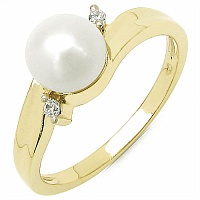 1.22CTW Genuine Pearl & White Cubic Zircon .925 Sterling Silver