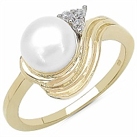 2.71CTW Genuine Pearl & White Cubic Zircon .925 Sterling Silver