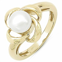 1.97CTW Genuine Pearl .925 Sterling Silver Gold Plating Ring