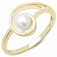 0.64CTW Genuine Pearl .925 Sterling Silver Gold Plating Ring