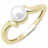 1.16CTW Genuine Pearl .925 Sterling Silver Gold Plating Ring