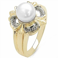 2.63CTW Genuine Pearl .925 Sterling Silver Gold Plating Ring