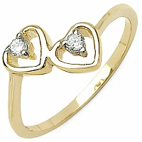 0.12CTW White Cubic Zircon .925 Sterling Silver Gold Plating He