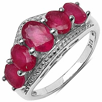 3.78CTW Genuine Glass Filled Ruby .925 Sterling Silver Ring