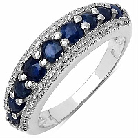 1.00CTW Genuine Blue Sapphire .925 Sterling Silver Ring