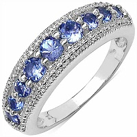 0.80CTW Genuine Tanzanite .925 Sterling Silver Ring