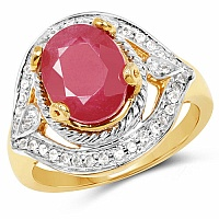 3.40CTW Glass Filled Ruby & White Topaz.925 Sterling Silver 14K