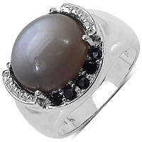 5.75CTW Genuine Grey Moonstone & Black Spinel .925 Sterling