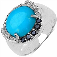4.58CTW Genuine Turquoise & Black Spinel .925 Sterling Silve