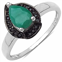 0.80CTW Genuine Emerald & Black Spinel.925 Sterling Silver R