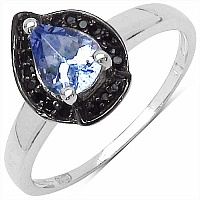 0.70CTW Genuine Tanzanite & Black Spinel.925 Sterling Silver