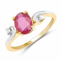 1.60CTW Glass Filled Ruby & White Diamond.925 Sterling Silver 1