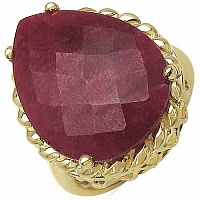 18.30CTW Dyed Ruby 14K Yellow Gold Plated .925 Sterling Silv