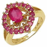 2.32CTW Genuine Glass Filled Ruby 14K Yellow Gold Plated .92