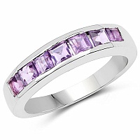 2.80CTW Genuine Amethyst .925 Sterling Silver Ring