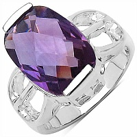 6.50CTW Genuine Amethyst .925 Sterling Silver Ring