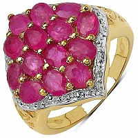 3.50CTW Genuine Ruby 14K Yellow Gold Plated .925 Sterling Si