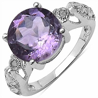 3.30CTW Genuine Amethyst & White Diamond .925 Sterling Silve