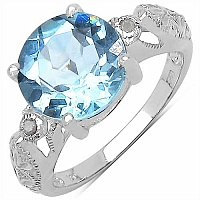4.22CTW Genuine Blue Topaz & White Diamond .925 Sterling Sil