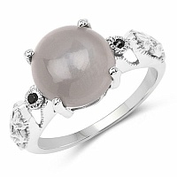 3.97CTW Genuine Grey Moonstone & Black Spinel .925 Sterling Sil