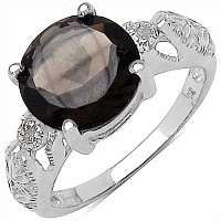 3.10CTW Genuine Smoky Topaz & White Diamond .925 Sterling Si