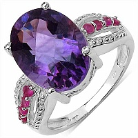 6.40CTW Genuine Amethyst & Ruby .925 Sterling Silver Ring