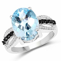 7.50CTW Genuine Blue Topaz & Black Spinel .925 Sterling Silver