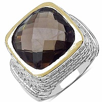 7.92CTW Genuine Smoky Topaz Two Tone Plated Brass Cushion Sh