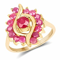 1.70CTW Genuine Ruby 14K Yellow Gold Plated .925 Sterling Silve