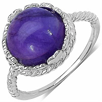 3.50CTW Genuine Amethyst Rhodium Plated Brass Ring