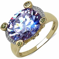 6.50CTW Purple Cubic Zirconia & Yellow Cubic Zirconia 14K Yello