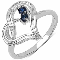 0.18CTW Genuine Blue Sapphire .925 Sterling Silver Heart Sha
