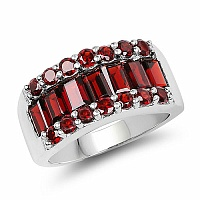 3.22CTW Genuine Garnet .925 Sterling Silver Cluster Ring