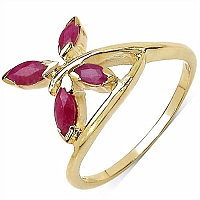0.60CTW Genuine Ruby 14K Yellow Gold Plated .925 Sterling Silve