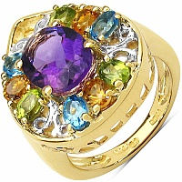 4.45CTW Genuine Multi Gemstone 14K Yellow Gold Plated .925 S