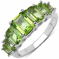 3.12CTW Genuine Peridot .925 Sterling Silver Ring