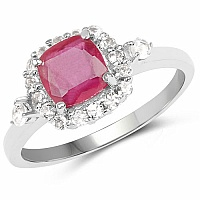 1.53CTW Glass Filled Ruby & White Topaz .925 Sterling Silver Ri