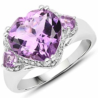 5.75CTW Genuine Amethyst .925 Sterling Silver Ring