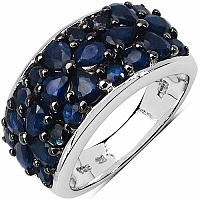 3.48CTW Genuine Blue Sapphire .925 Sterling Silver Cluster R