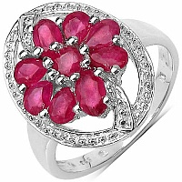 1.98CTW Genuine Glass Filled Ruby .925 Sterling Silver Ring