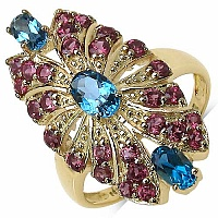 2.67CTW Genuine Blue Topaz & Rhodolite 14K Yellow Gold Plate