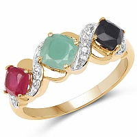 1.54CTW Genuine Multigemstone 14K Yellow Gold Plated .925 Sterl
