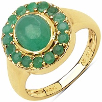 2.20CTW Genuine Emerald 14K Yellow Gold Plated .925 Sterling