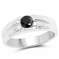 0.45CTW Genuine Black Diamond .925 Sterling Silver Men's  Ring