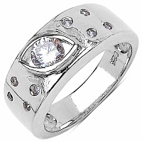 0.99CTW White Cubic Zircon .925 Sterling Silver Ring
