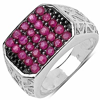 1.25CTW Genuine Ruby .925 Sterling Silver Ring