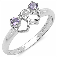 0.14CTW Genuine Amethyst .925 Sterling Silver Heart Shape Ring