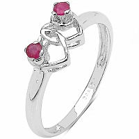 0.16CTW Genuine Ruby .925 Sterling Silver Heart Shape Ring
