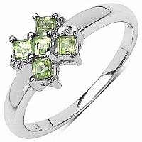 0.25CTW Genuine Peridot .925 Sterling Silver Ring