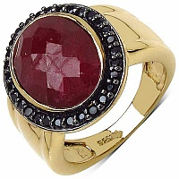 7.60CTW Genuine Dyed Ruby & Black Spinel 14K Yellow Gold Pla